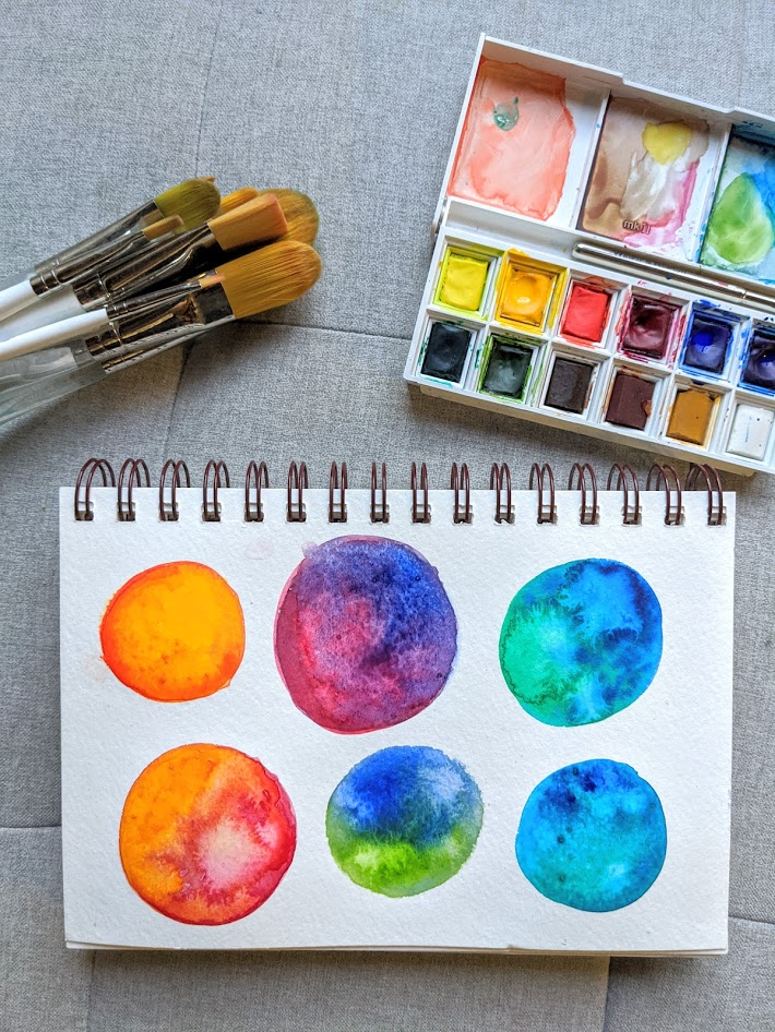 watercolor paints, brushes, and a painting with colorful circles